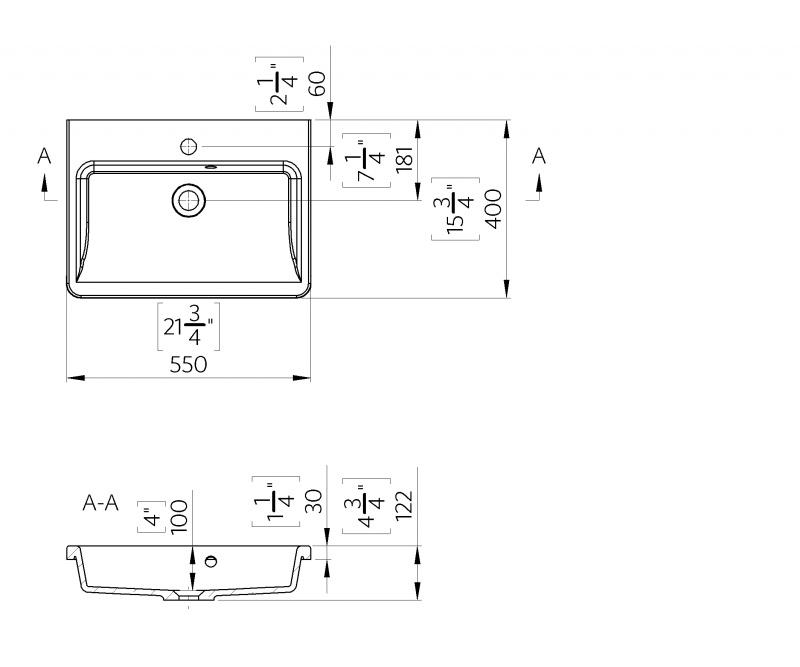 Akmens masės praustuvas Blu CIVITA 550C