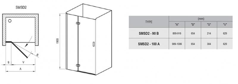 Dušo durys Ravak SmartLine SMSD2 (B)