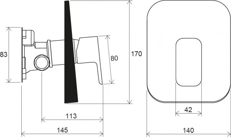 Potinkinis maišytuvas Ravak 10° Free be jungiklio su  potinkine dėžute R-box