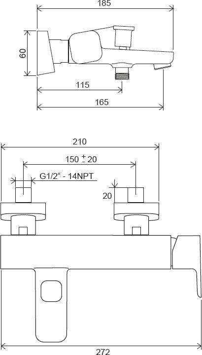 Sieninis vonios/dušo maišytuvas Ravak 10° Free, 150 mm
