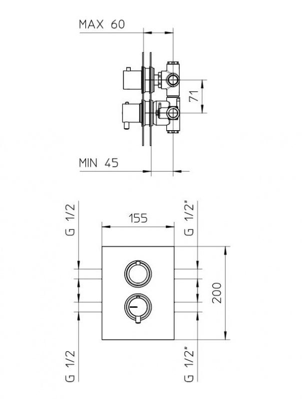 Potinkinis dušo komplektas Bossini Twiggy Mimo su termostatinis maišytuvu ir kvadratine dušo galva