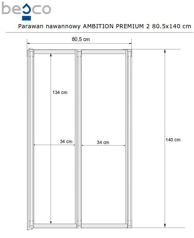 Стенка для ванны Besco Ambition Premium 80