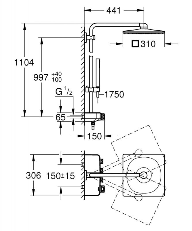 Душевая система с термостатом Grohe Euphoria SmartControl System 310 Cube  Duo