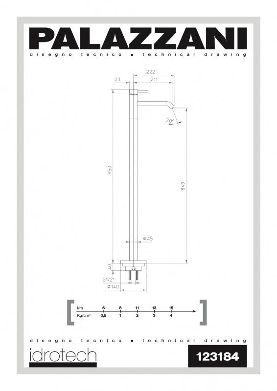 Напольный смеситель для умывальника Idrotech 2 Palazzani