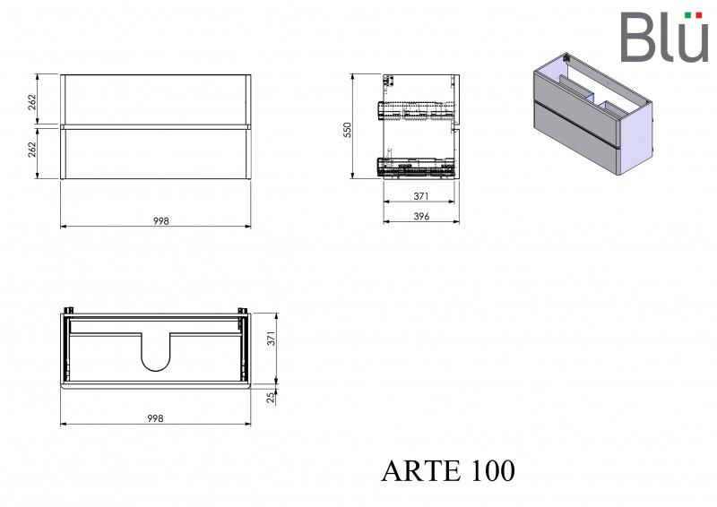 Spintelė su praustuvu Blu ARTE 1000 x 400 mm, Volcano grey IŠPARDAVIMAS