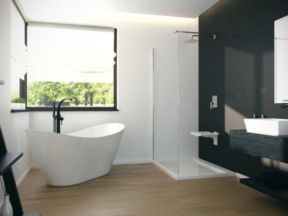 Maišytuvas voniai montuojamas į grindis Besco Decco, juodas