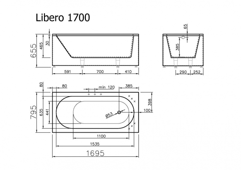 Akmens masės vonia LIBERO VISPOOL