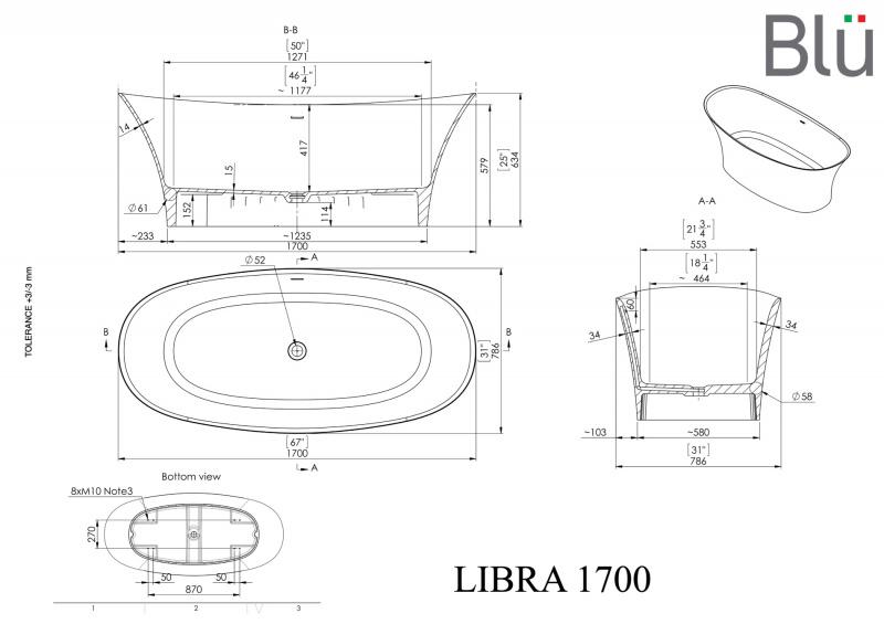 Akmens masės vonia Blu LIBRA 1700 Evermite su persipylimu