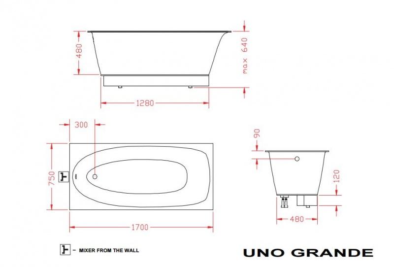 Vonia PAA UNO GRANDE 170x75 su kojų uždanga, akmens masės