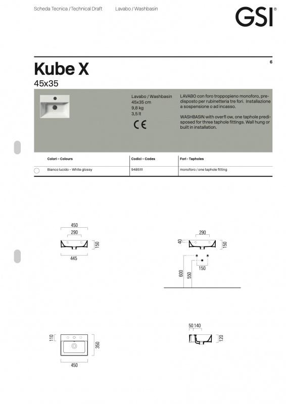 Praustuvas pakabinamas Kube X 45, GSI