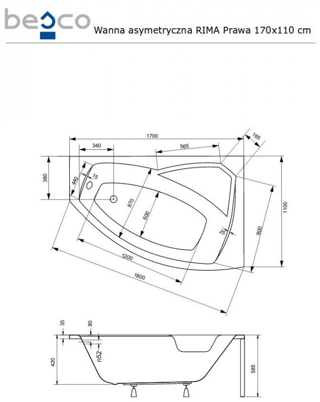 Asimetrinė akrilinė vonia Besco RIMA