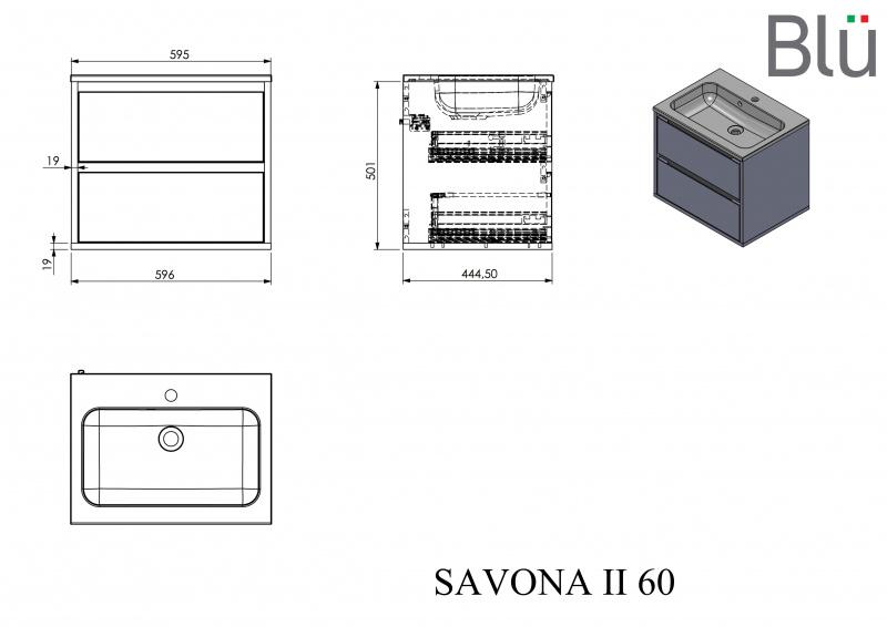 Spintelė su praustuvu Blu SAVONA II 600, Išpardavimas