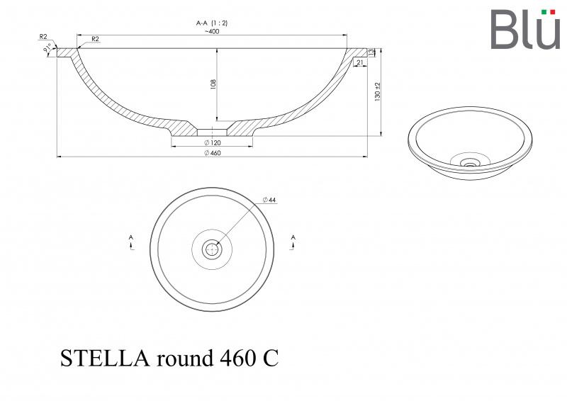 Akmens masės praustuvas Blu STELLA ROUND 460