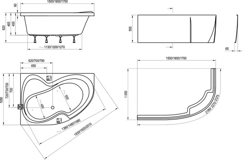Asimetrinė akrilinė vonia Ravak Rosa II