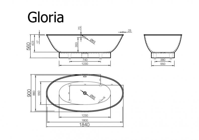 Akmens masės vonia Vispool Gloria 1840
