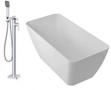 Laisvai pastatoma vonia OMNIRES MARBLE+ PARMA su maišytuvu iš grindų Apure