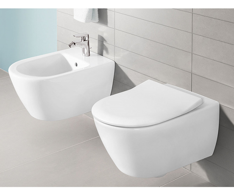 Subway 2.0 WC pakabinamas Direct Flush su sėdyne SlimSeat White Alpin, Villeroy & Boch