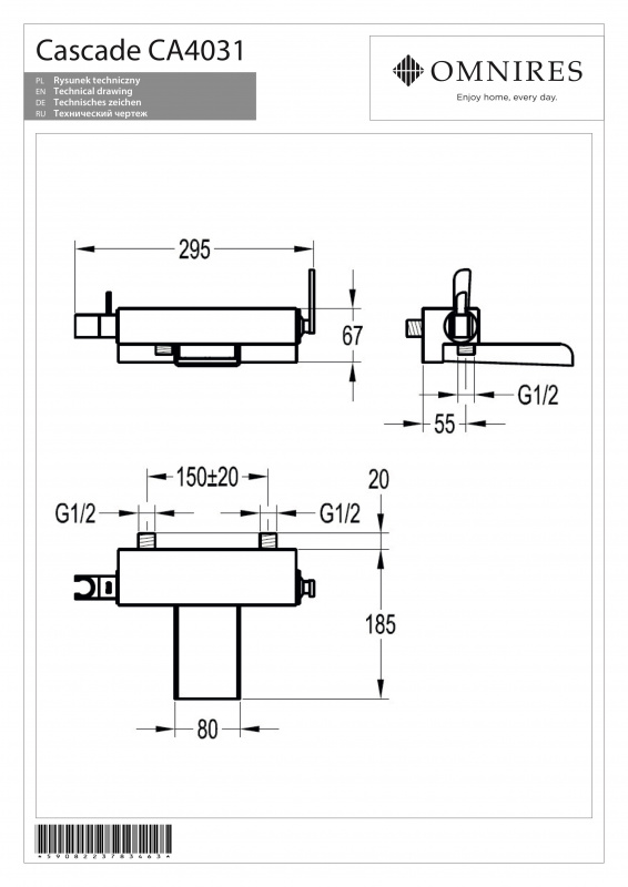 Maišytuvas voniai (komplektas) OMNIRES CASCADE