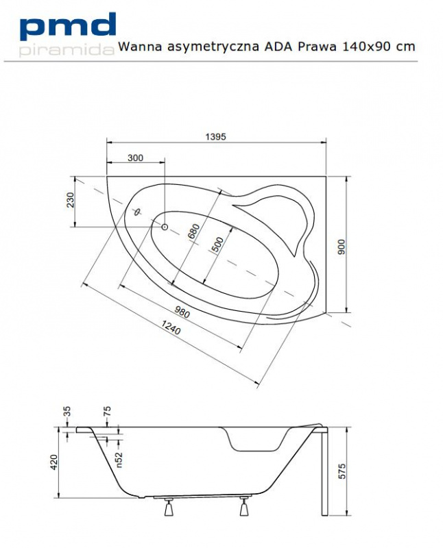 Asimetrinė akrilinė vonia Besco ADA