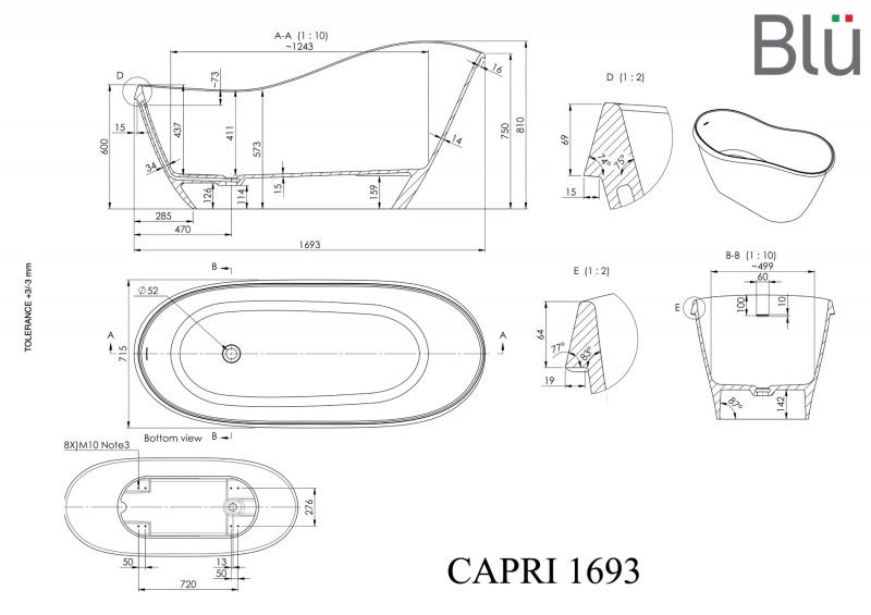 Akmens masės vonia Blu CAPRI 1693 Evermite su persipylimu