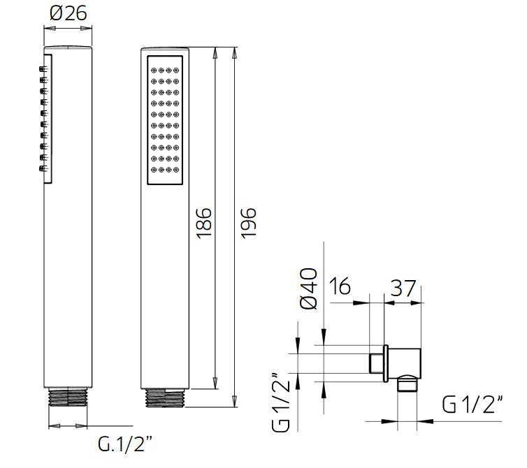 Potinkinė dušo sistema Palazzani Mimo Elios 200, chromas