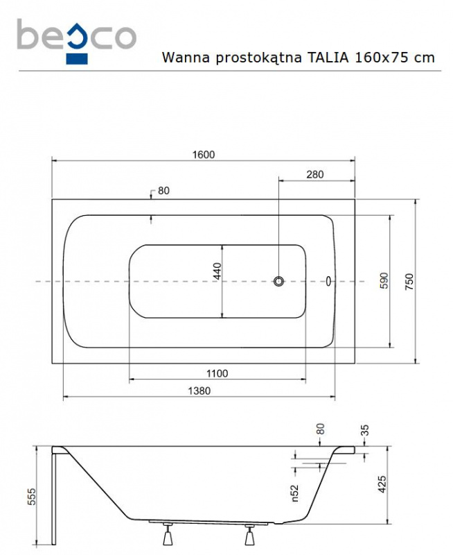Stačiakampė akrilinė vonia Besco TALIA PREMIUM