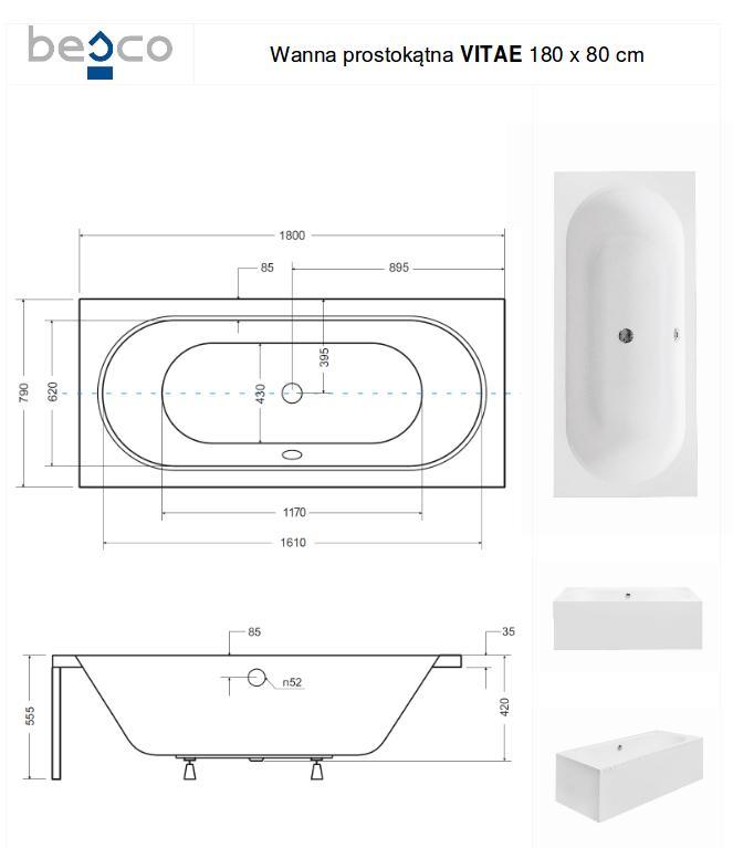 Stačiakampė akrilinė vonia Besco Vitae