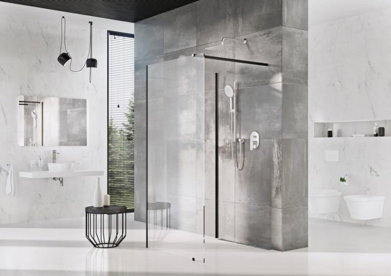 Dušo sienelė Ravak Walk-In model Corner juodu profiliu