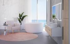 Apvali akmens masės vonia Allure Balteco 135