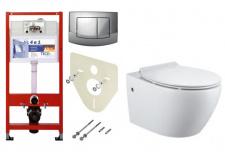 Pakabinamo WC Estoril rimless Bathco ir rėmo Tece Ambia (chromas) komplektas