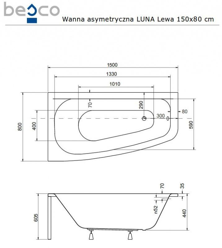 Асимметричная акриловая ванна Besco LUNA 150x80