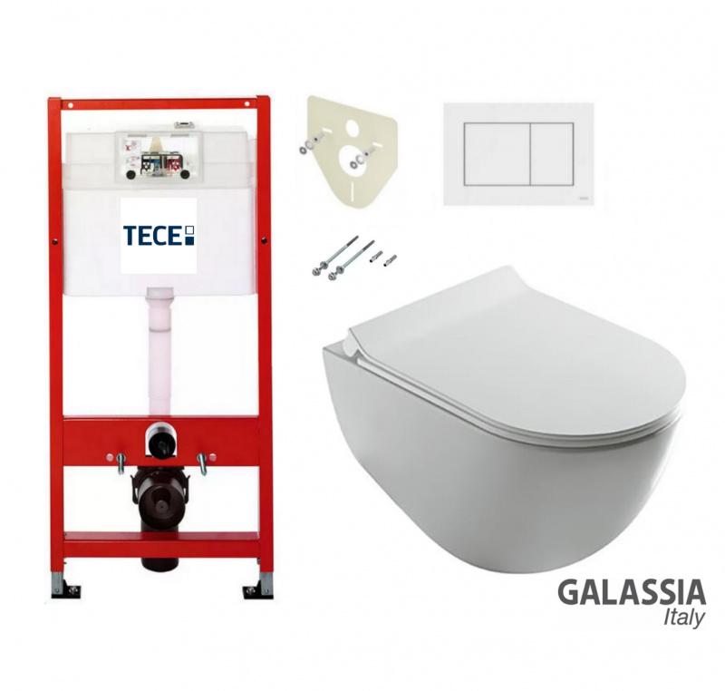 Pakabinamo WC Dream No Rim Galassia ir rėmo Tece Profil 4in1 komplektas
