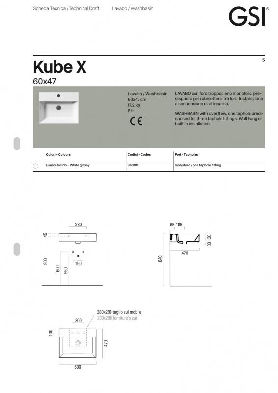Praustuvas pakabinamas Kube X, GSI