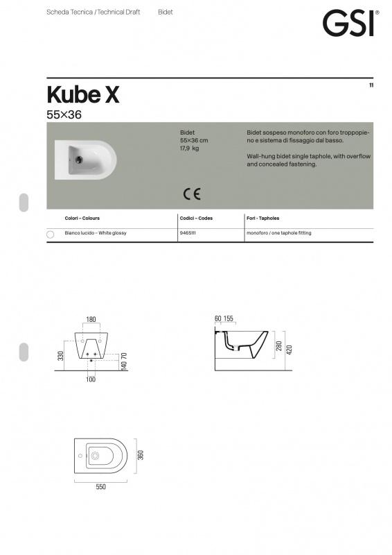 Pakabinamas bide Kube X color GSI