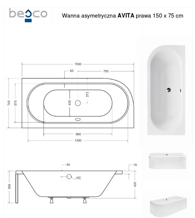 Asimetrinė akrilinė vonia Besco Avita