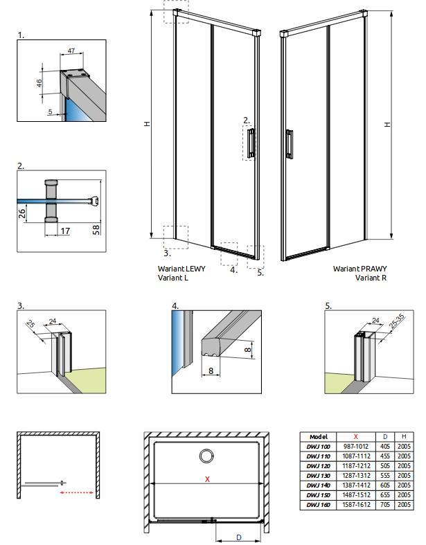 Dušo durys į nišą Radaway Idea DWJ