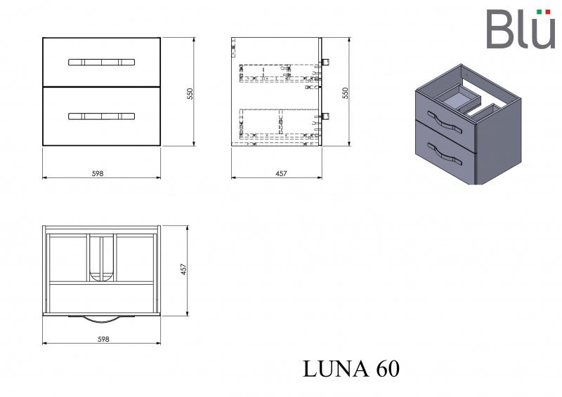 Pakabinama vonios spintelė su praustuvu Blu LUNA 600