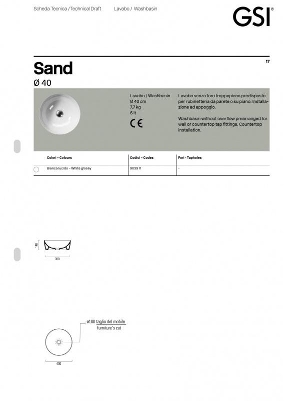Pastatomas praustuvas Sand 40 color, GSI