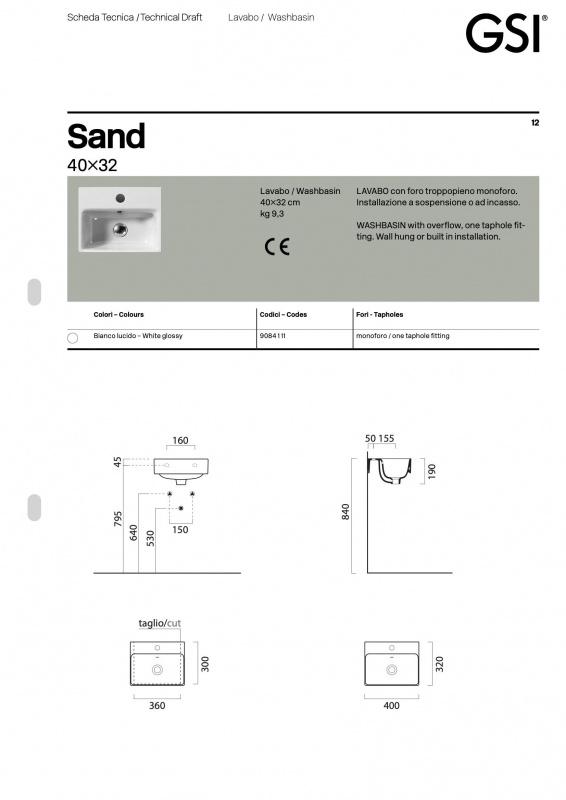 Praustuvas pakabinamas Sand 40x32  Color, GSI