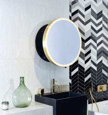Выдвижное зеркало для ванной комнаты Moon Miior Black Gold
