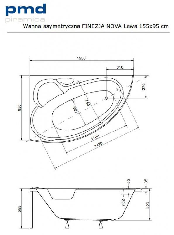 Asimetrinė akrilinė vonia Besco FINEZIJA NOVA