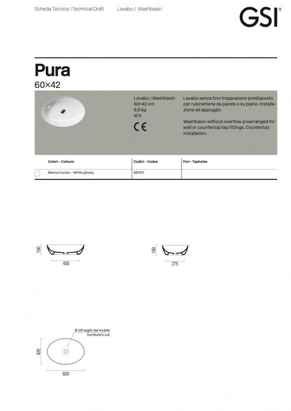 Pastatomas praustuvas Pura 60x42, GSI