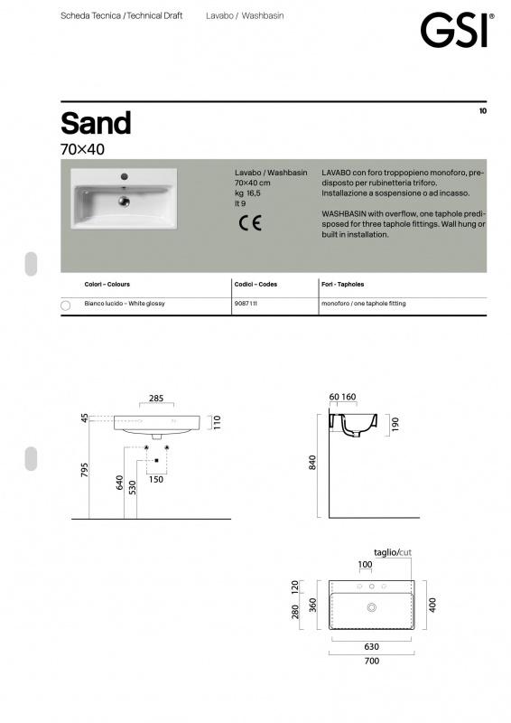 Praustuvas pakabinamas Sand, GSI
