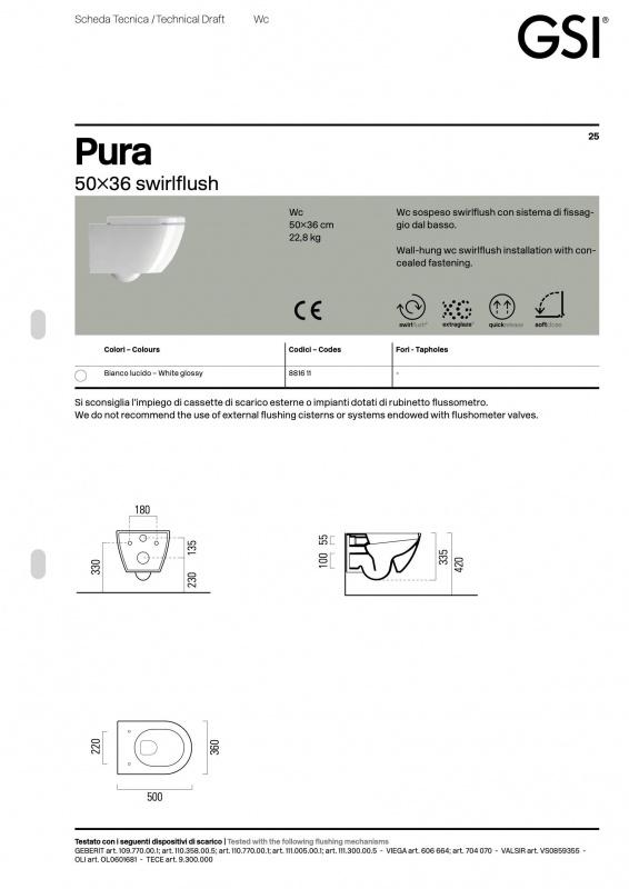 Pakabinamas unitazas PURA Compact GSI Rimless su Soft Close plonu dangčiu