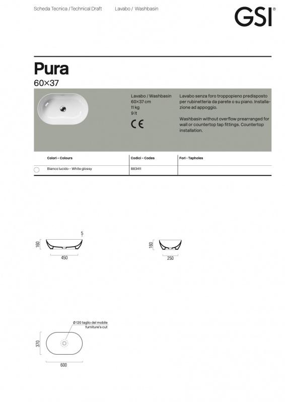 Pastatomas praustuvas Pura 60x37, GSI