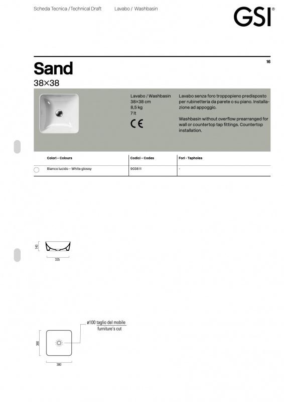 Pastatomas praustuvas Sand 38 color, GSI